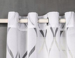 Cortina con 8 ollao translucida (1 unidad X 140x260) para salón, habitación y dormitorio. Cortina Traslucida. Modelo Helen (BLANCO) 7