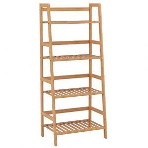 HOMFA Estantería Baño de Bambú Estantería Almacenaje para libros plantas con 4 estantes 48 x 32x 116cm 3