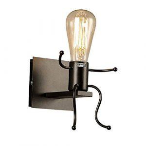 KAWELL Creativo Vintage Apliques de Pared Lámpara Metal Industrial Retro Luz de Pared Base de Hierro Art Deco E27 Base para Bar, Dormitorio, Cocina, Restaurante, Cafetería, Pasillo, Negro 2