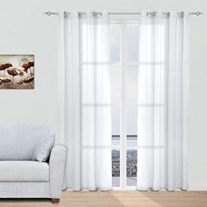 Juego Cortinas Translúcidas Visillos para Ventanas Habitaciones Dormitorios Salones Decoración Moderna para Hogar, 140x260cm con Ojetes, Blanco 8