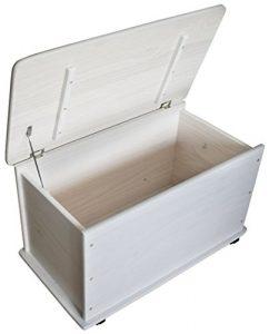 KMH, Caja de juguetes de madera de pino macizo con ruedas (blanco) (#800057) 5