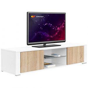 Comifort TV83BS - Mueble TV Salón Moderno Mesa Televisión, Colores: Blanco, Madera De Roble, Blanco/Roble, 140x36x32,5 Cm (Blanco/Roble) 10