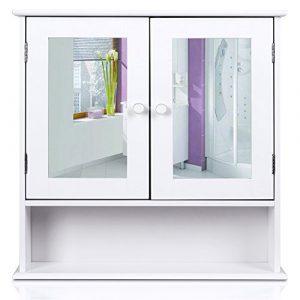 Homfa Armario de Baño con Espejo Armario de Pared Armario de Cocina o Medicina Blanco 2 Puertas y 3 Estanterías MDF 56x13x58cm 4