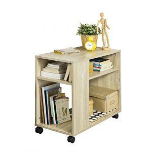 SoBuy FBT34-N,Mesa Auxiliares de Salón, Mesa de Centro, Mesa para el Café con Ruedas en Diseño Moderno con Repisa,ES 8