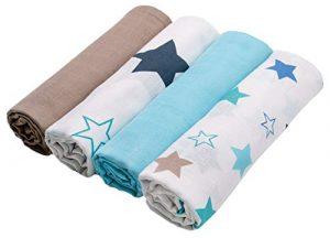 Zollner 4 mantas de muselinas para bebé algodón 100%, 120x120 cm, muy grandes 1