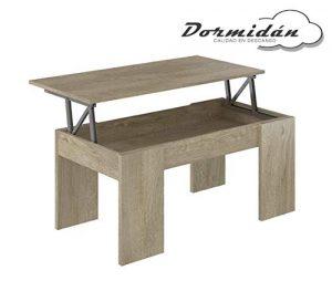 Dormidán- Mesa de Centro elevable, Comedor o Auxiliar, Mayor Grosor y Estabilidad (Roble) 4