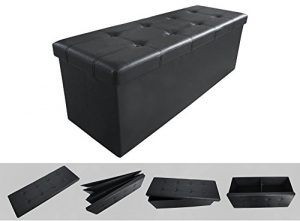 Todeco - Almacenamiento Banco, Almacenamiento Otomano Plegable de Cuero - Carga máxima: 150 kg - Material: Imitación de cuero - Acabado cosido y copetudo, 110 x 38 x 38 cm, Negro 1