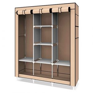 UDEAR Armario de Tela Plegable Ropa Organizador Closet portátil Guardarropa Marrón 4