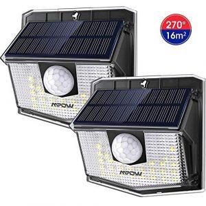 Mpow Luz Solar de Exterior de 3-8M Detección,Lámpara Solar 270° Ángulo de Iluminación, PIR Sensor de Movimiento, Impermeable IP65, Fácil de Instalar,Jardín, Garaje, Terraza, Patio 2