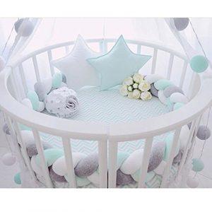 Cojín largo de nudo trenzado para bebé, para guardería, cama, cuna, valla de seguridad, cochecito de bebé, decoración de habitación Grey-White-Mint Talla:300CM 2