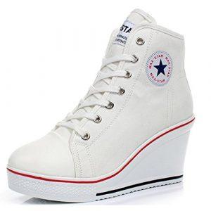 Kivors Mujer Cuñas Zapatos De Lona High-Top Zapatos Casuales Encaje Hebilla Cremallera Lateral Tacón Cuña 8CM (36 EU, Blanco) 3