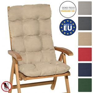Beautissu Flair HL - Cojín para sillas de balcón o Asiento Exterior con Respaldo Alto - 120x50x8 cm - Natural 1