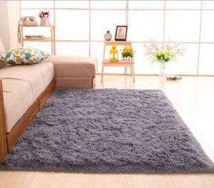 CNFQ Shaggy alfombras de Pelo Largo alfombras Salon alfombras de habitacion moquetas Sala de Estar (Gris, 100 x 200 cm) 2