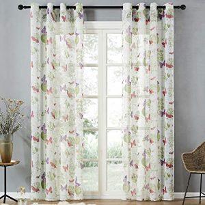 Top Finel Cortinas Elegantes con Mariposas para la Ventana de la Cocina, del salón o del Dormitorio, con Ojales,140x160cm 7