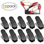FEMOR Set de 10pcs de Organizadores Ajustables de Zapatos con Ranuras Soportes de Calzado Apilador para Zapatos Ahorro de Espacio Color Negro 16