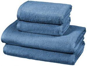 AmazonBasics - Juego de 4 toallas de secado rápido, 2 toallas de baño y 2 toallas de mano - Azulón 2