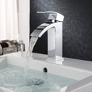 """HOMFA Grifo Lavabo con Agua Suave Caliente y Fría para Baño Grifos Baño Monomando Lavabo Brillante Cromado Conexión 3/8"""" 21.5 x 15.5 x 4.5 cm 5"""
