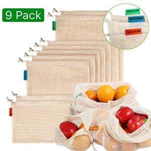 Meiruier 9pcs Bolsa Reutilizable Algodon de Vegetales,Bolsa de Malla Lavable,Bolsas Reutilizables Compra, Bolsas de Malla Transpirables Adecuado para Frutas y Verduras Productos Frescos 5