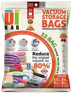 DIBAG - Bolsas de almacenaje al vacío de ropa para ahorrar espacio. 15 bolsas ahorradoras de espacio para viaje. 1 Jumbo/3 XL/4 L/4 M + 3 enrollar. Para ropa de cama, almohadas, mantas y edredones 6