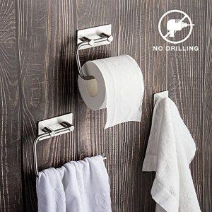 Set de accesorios de baño de 3 piezas: Toallero, Portarrollo de papel higiénico, Gancho Acero inoxidable 1