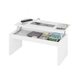 Habitdesign 0T1638BO - Mesa de Centro elevable Zenit Cristal, mesita mueble salon comedor, acabado Blanco Brillo y Cristal Negro, Dimensiones 100 cm (largo) x 43/52 cm (alto) x 50 cm (fondo) 6
