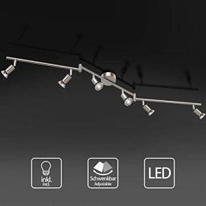 Uchrolls Foco LED para techo I 6 vías lamparas de techo led I Luz de techo I Orientable y giratoria Lámpara de salón giratoria (incluye 6 x 3.5 W bombillas LED GU10) 3