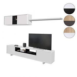 Habitdesign 0T6682BO - Mueble de Comedor Moderno, Color Blanco Brillo y Negro Brillo, Medidas: 200 cm x 41 cm de Profundidad 6