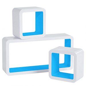 Woltu RG9229bl Estante de Pared Estante Cubo Conjunto de 3 Sistemas de estanterías de estantería, Cubos de estantería Retro, Blanco-Azul 3