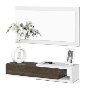 Habitdesign Recibidor con cajón + espejo, medidas 19 x 95 x 26 cm de fondo (Blanco Brillo y Toscana) 5