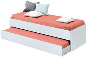 Cama nido de dormitorio juvenil color blanco brillo, somier inferior incluido, para colchones de 190x90cm. 202cm ancho x 97cm fondo x 54cm altura 7