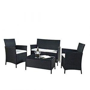 Conjunto de Muebles Poli Ratán para Jardín Terraza Patio - 3 Cojines Blancos 1 Mesa de Café 1 Sofá Biplaza 2 Sillas / Negro 1
