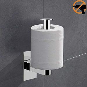 Lolypot Portarrollos de papel higiénico sin perforar, 304 Acero Inoxidable 3M Autoadhesivo Accesorios de baño Vertical Horizon Acabado en Cromo Toilet Roll Holder 1