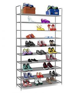 Halter - Zapatero de estantes apilables de 10niveles de acero inoxidable - Capacidad para de 50 pares de zapatos-99,4 x 28,25 x 176,5 cm.Color negro 8