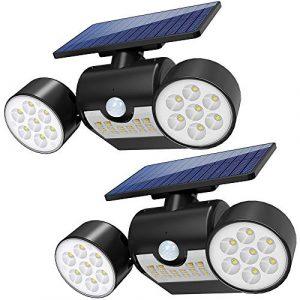Lampara Solar Foco Solar Exterior Apliques de Pared con Ultra Brillante 30 LED, Funciona de 8-10 Horas, Sensor de Movimiento & Impermeable IP64 para Jardín, Patio, Terraza, Garaje,Escaleras 1