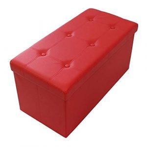 Todeco - Almacenamiento Banco, Almacenamiento Otomano Plegable de Cuero - Carga máxima: 150 kg - Material: Imitación de cuero - Acabado cosido y copetudo, 76 x 38 x 38 cm, Rojo 3