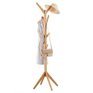 LANGRIA Perchero Bambú de Pie Tipo Árbol con 8 Ganchos en 4 Niveles y Pies Sólidos para Colgar Abrigos Gorros Chaquetas Gabardinas, Color Natural de Bambú 6
