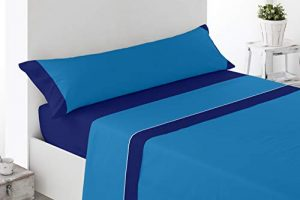 Cabetex Home - Juego de sábanas Lisas - Colores Combinados - 3 Piezas - Microfibra Transpirable (Azul/Marino, 150_x_190/200 cm) 6