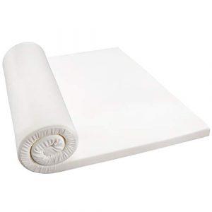 LANGRIA Colchoncillo Topper 5 cm de Grosor de Espuma de Memoria de Forma, Funda de Tejido Transpirable Desmontable, Cama de 90 (Blanco) 5