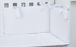 Vizaro - CONJUNTO de FUNDA NÓRDICA y PROTECTOR de CUNA 60x120 cm - 100% ALGODÓN PURO - 3 Piezas - Med. 90x120cm - ALTA CALIDAD, hecho en UE, certificado OekoTex - C. Bordado Blanco 2