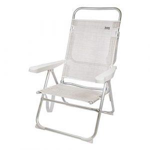 AKTIVE 53976 Silla Plegable multiposición Aluminio Beach, 50 x 64 x 100 cm, Blanco 4