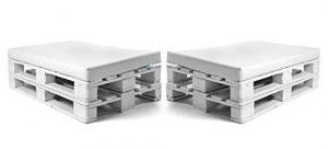 SUENOSZZZ-ESPECIALISTAS DEL DESCANSO Pack de 2 colchonetas para Sofas de Palet. Cojines Rellenos con Espuma. Color Blanco | Cojines para Chill out, Interior y Exterior, Jardin | No Incluye Palet 1