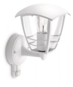 Philips myGarden Creek - Aplique de exterior con sensor de movimiento, empotrado, casquillo gordo E27, bombilla no incluida, 28.5 cm, color blanco 1
