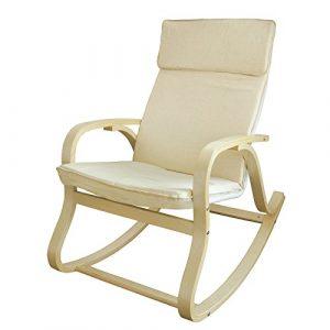 SoBuy® Silla de relada, mecedora, sillón de relada, beige, FST15-W (Mecedora) 3
