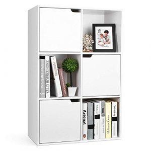 Homfa Estantería Librería Estantería para Libros Estantería Almacenaje de Pared de 6 Cubos 3 Puertas Blanco 60x29x90cm 1