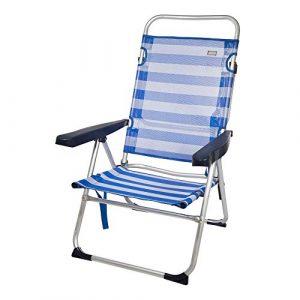 AKTIVE 53956 Silla Plegable multiposición Aluminio Beach, 50 x 64 x 100 cm, Azul Oscuro 5
