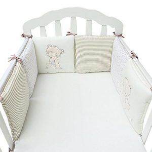 Jiyaru Ropa para cuna camas de bebé 6 Piezas Set Protector de Cuna 30 * 30 cm con Algodón Beige 1