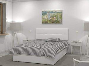 LA WEB DEL COLCHON Cabecero de Cama tapizado Acolchado Julie 145 x 55 cms. para Camas de 135 y 140 cms. Polipiel Color Blanco. Incluye herrajes para Colgar con regulador de Altura 1