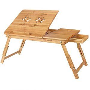 HOMFA Mesa para Ordenador portátil Mesa de cama Bambú Mesa auxiliar con cajón lateral 55x35x(22-30)cm 1