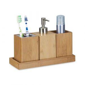 Relaxdays - Set Conjunto de 4 Piezas para el Cuarto de baño, bambú, 18.5 x 25 x 10.5 cm, Soporte de Cepillo de Dientes, dispensador de jabón, Vaso, Natural, Color Natural 7