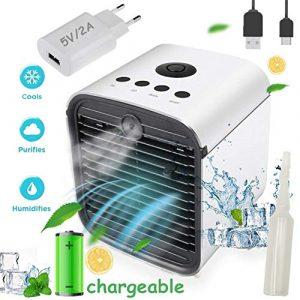 Nifogo Air Mini Cooler Aire Acondicionado Portátil,3-en-1 Climatizador EVO Ventilador Humaporativo Friidificador Purificador de Aire, Leakproof, Nuevo Filtros Paper (New-Recargable+Adaptador) 4